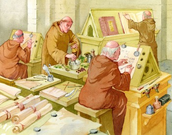 An artist's impression of the scriptorium at Micklegate Priory